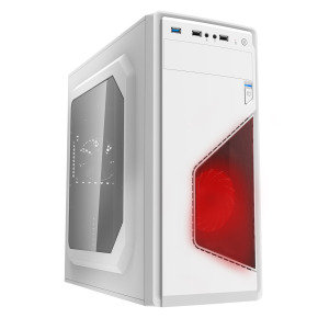 CIT Ignition White Midi Case With 12cm Red LED Fan