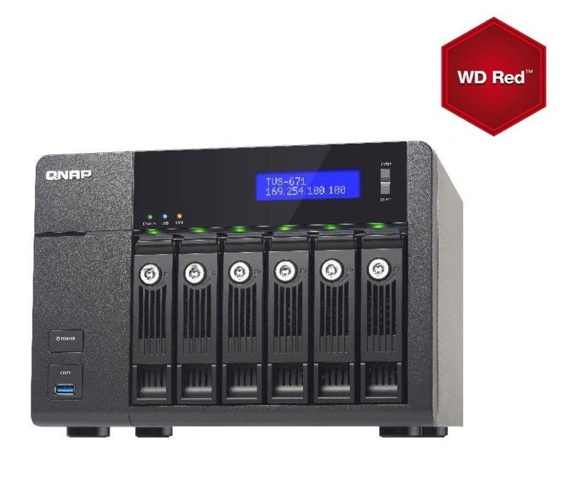 QNAP TVS-671-i3 36TB (6 x 6TB WD Red) 4GB RAM 6 Bay NAS