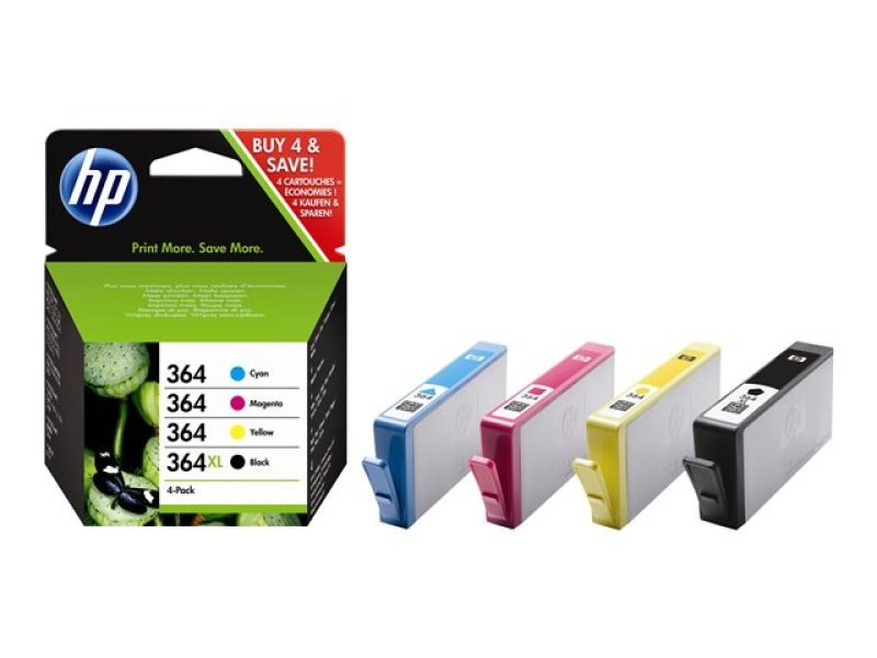 HP 364 CMYK Combo 4Pack Ink Cartridges  N9J73AE