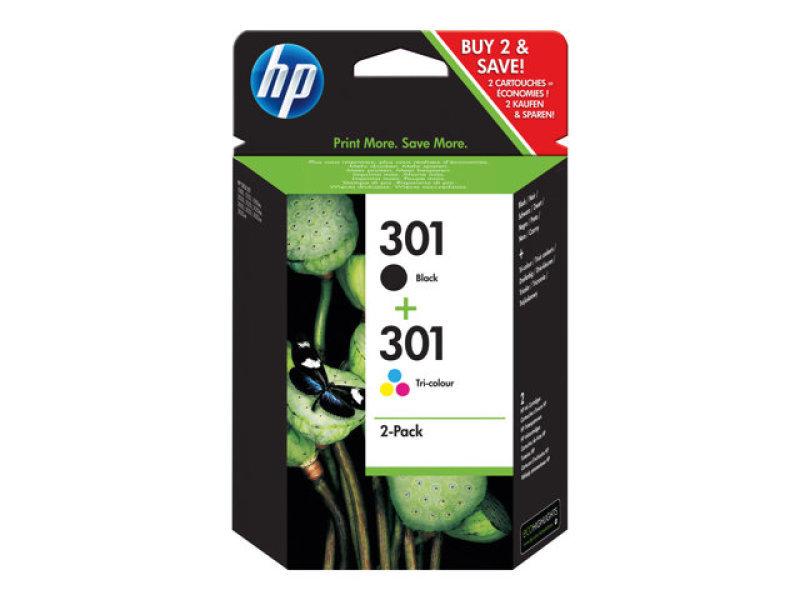 HP 301 Multi-pack 1x Black, 1x Tri-Colour OriginalInk Cartridge - Standard Yield 190 Pages/165 Pages - N9J72AE