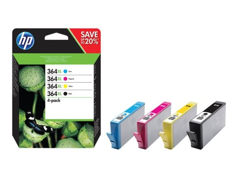 HP 364XL CMYK Combo 4Pack Ink Cartridges  N9J74AE