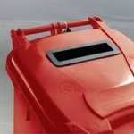 Confidential Waste Wheelie Bin 140 Litre with Slot and Lid Lock Red