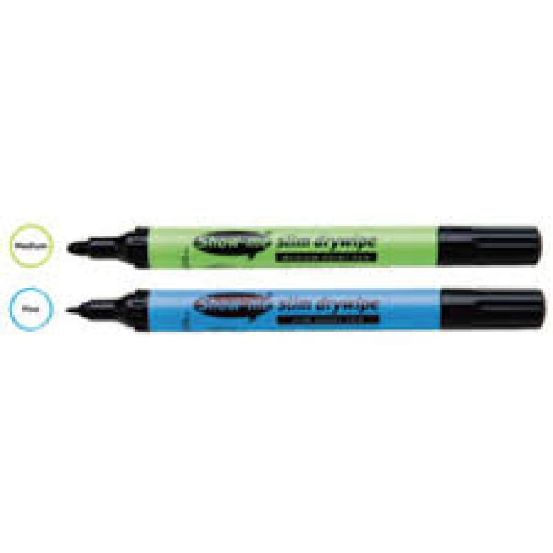Show-me Fine Point Slim Barrel Drywipe Marker Black Pk100