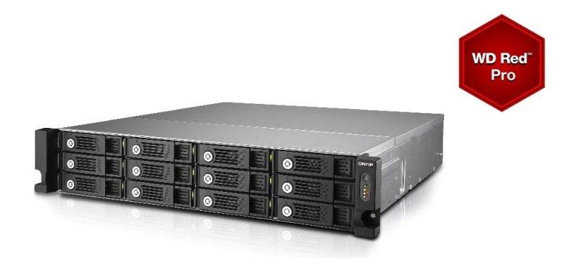 QNAP TVS-1271U-RP-i3 24TB (12 x 2TB WD Red Pro) 8GB RAM 12 Bay 2U Rack NAS