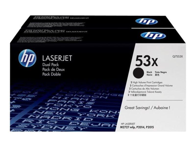 HP 53X Black Dual Pack Toner Cartridge - Q7553XD