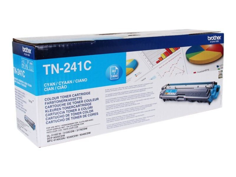 Brother TN-241C Cyan Toner Cartridge - 1,400 Pages