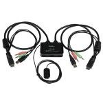 2 Port Usb Hdmi  Cable Kvm Switch With Audio And Remote Switch   Usb Powered