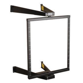 SmartRack 12U Flat-Pack Low-Profile Switch-Depth Wall-Mount Pivoting 2-Post Open Frame Rack