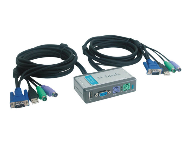 D-Link DKVM-2K Port KVM Switch - With Built-in Cables-desktop