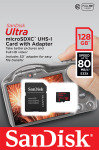 SanDisk Ultra 80 128GB microSDXC UHS1 Memory Card + Adapter