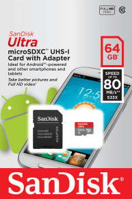 SanDisk Ultra 64GB microSDHC UHS1 Memory Card & Adapter