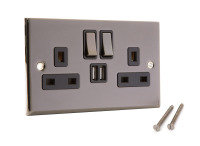 Wall Socket with built in 2xUSB Charging Ports (Nickel)
