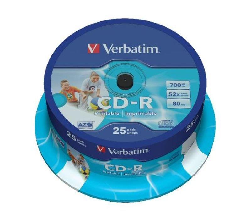 Verbatim 52x CD-R Inkjet Printable Discs - 25 Pack Spin