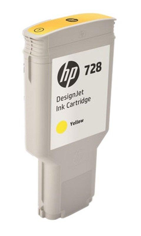 HP 728 Yellow OriginalDesignjet Ink Cartridge - Extra High Yield 300ml - F9K15A