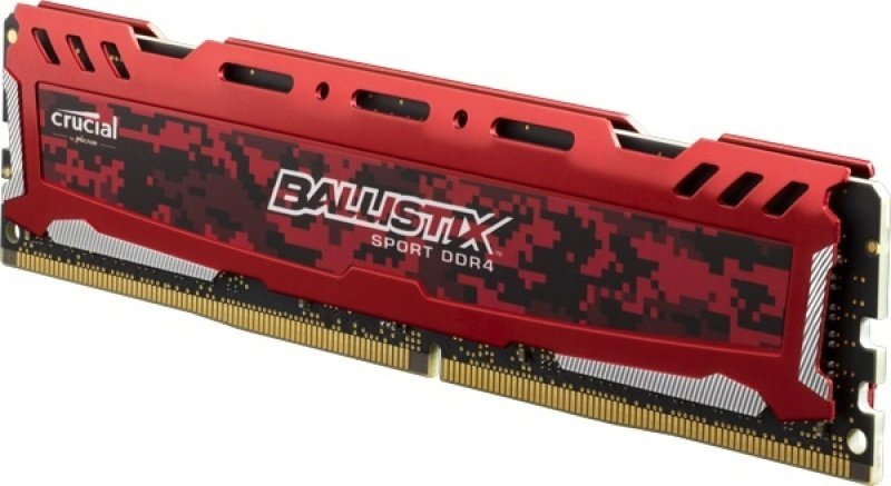 Crucial Ballistix Sport LT 8GB DDR4-2400 CL16 (16-16-16) 1.2V PC4-19200 Memory (Red)