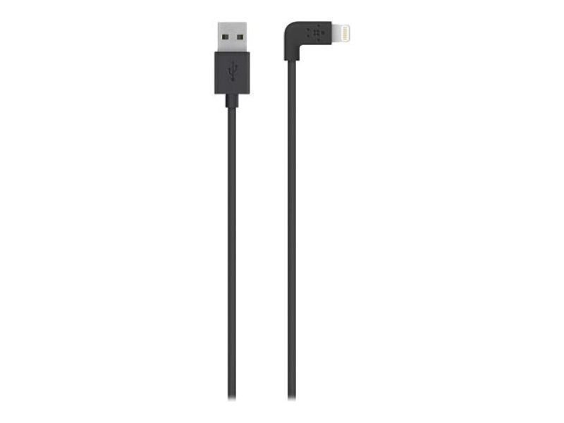 Belkin FLAT 2.4amp Lightning Sync & Charge cable Compatible with Apple iPhone 5/iPad mini/iPad 4 in Black 1.2m