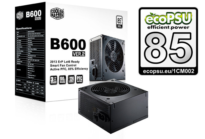 Cooler Master Bseries V2 600w Power Supply Unit 80 Efficiency With Uk Cable