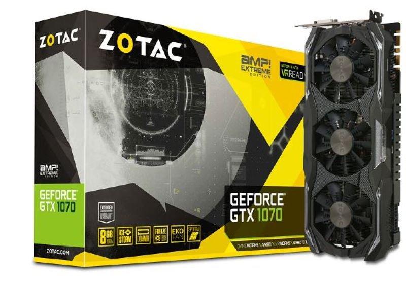 Zotac Geforce GTX 1070 AMP Extreme 8GB GDDR5 Duallink DVI HDMI 3x DisplayPort PCIE Graphics Card