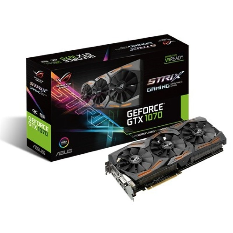 Asus GeForce GTX 1070 STRIX OC GAMING 8GB GDDR5 DVI HDMI 3 x DisplayPort PCIE Graphics Card