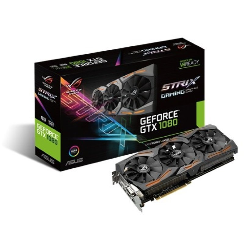 Asus GTX 1080 STRIX GAMING 8GB GDDR5X DualLink DVID HDMI DisplayPort PCIE Graphics Card