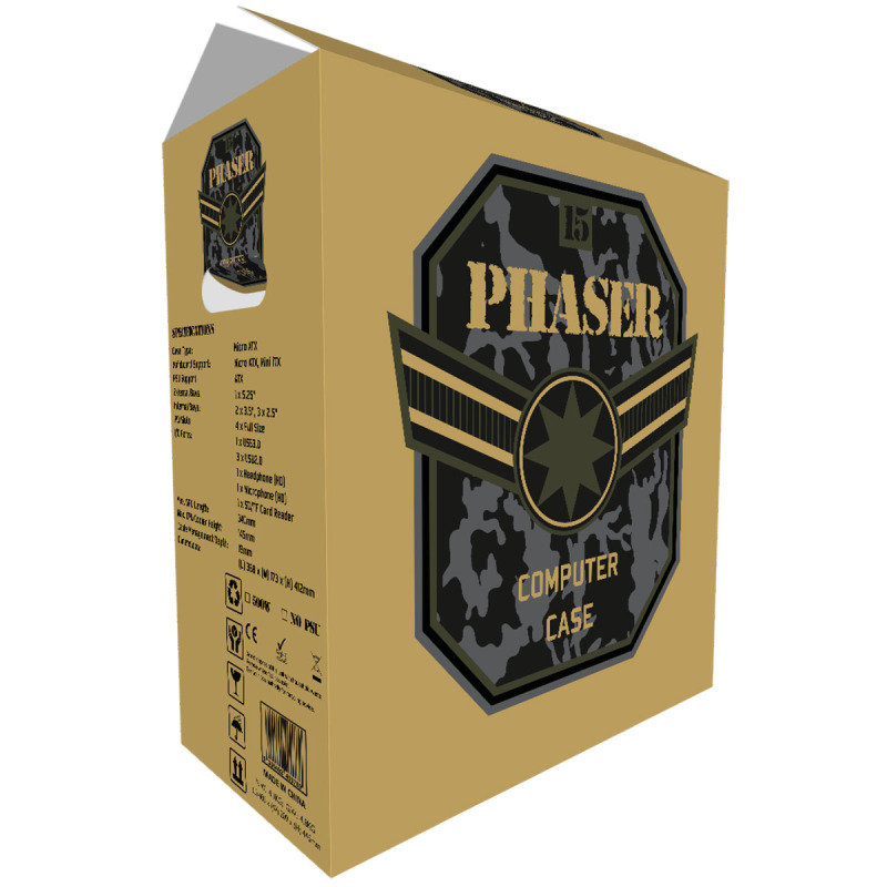 EXDISPLAY CIT Phaser Black Midi Case 1 x USB3 3 x USB2 1 x 9cm Rear Fan Black 500W PSU