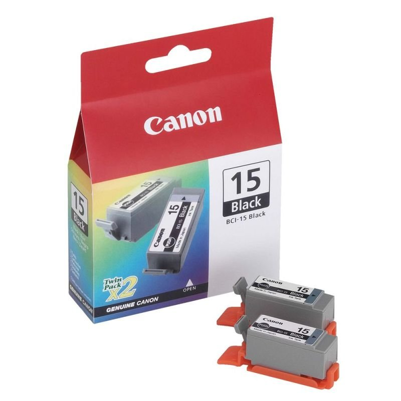 Canon BCI-15Bk - Black Ink Cartridge - 2 Pack