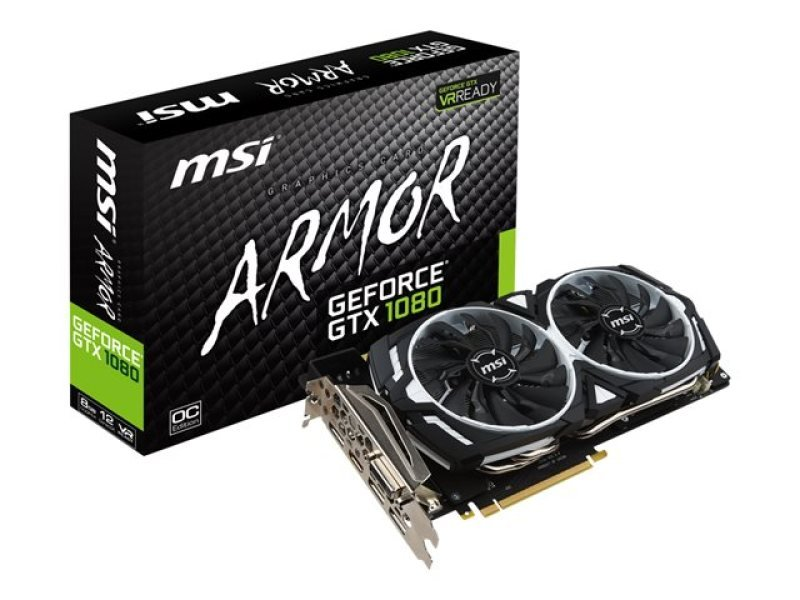 MSI GeForce GTX 1080 ARMOR OC 8GB GDDR5X DVI HDMI 3 x DisplayPort PCI-E Graphics Card