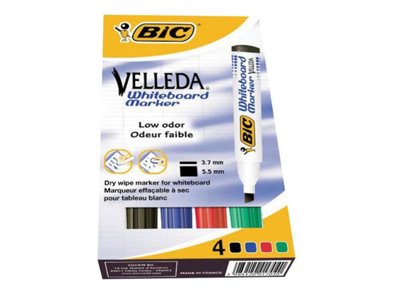 Bic Velleda 1751 Chisel Tip Assorted Whiteboard Marker - Pack Of 4