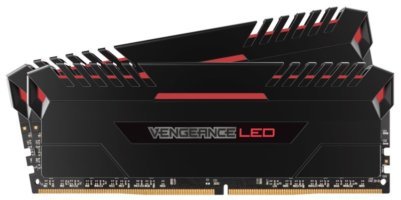 Corsair Vengeance LED 16GB (2 x 8GB) DDR4 DRAM 3200MHz C16 Memory Kit - Red LED Lighting