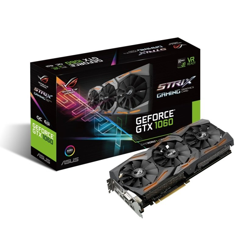 Asus GeForce GTX 1060 STRIX GAMING 6GB GDDR5 DualLink DVID HDMI 3x DisplayPort PCIE Graphics Card
