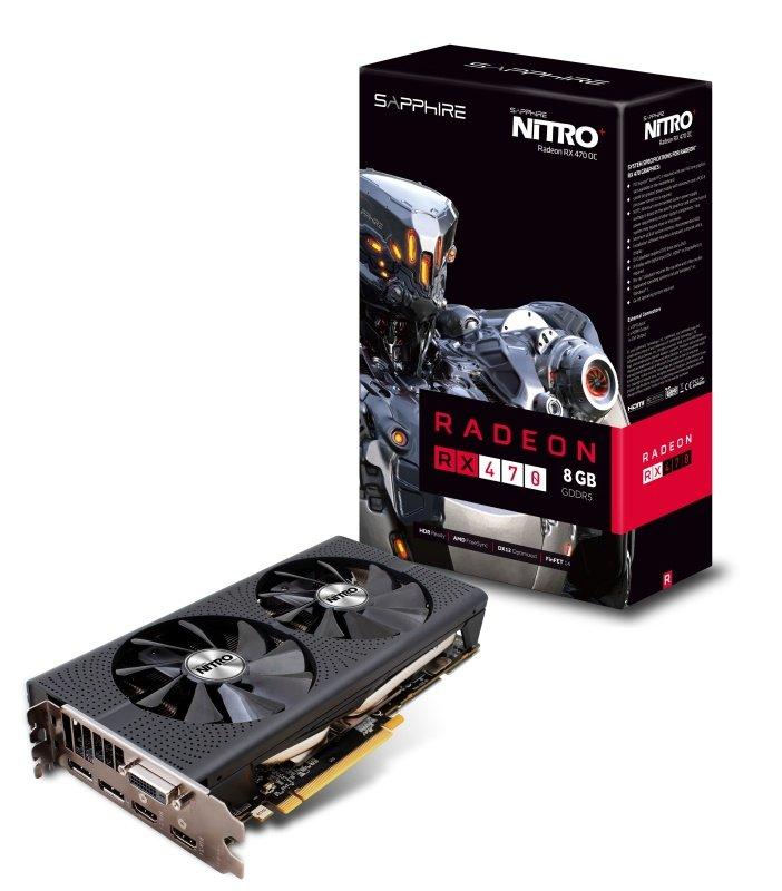 Sapphire Radeon RX 470 Nitro 8GB GDDR5 DVID HDMI DisplayPort PCIE Graphics Card