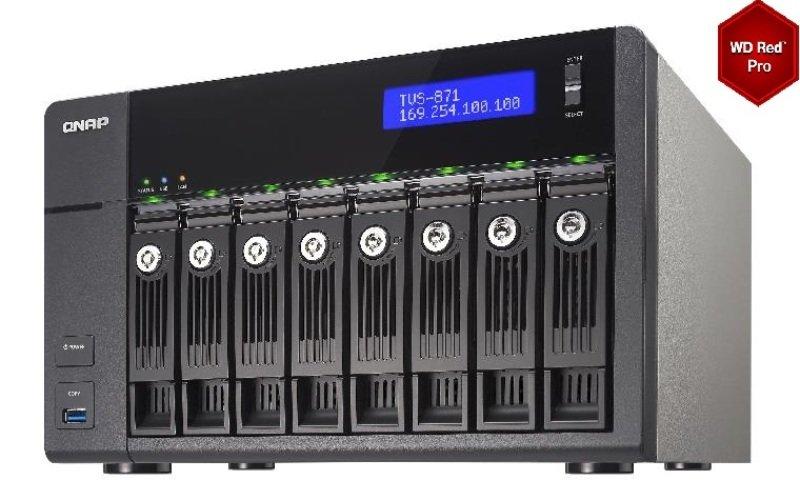 QNAP TVS-871-I7-16G 24TB (8 x 3TB WD RED PRO) 8 Bay NAS with 16GB RAM