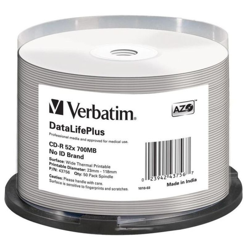 Verbatim CD-R Thermal Printable Discs - 50 Pack Spindle