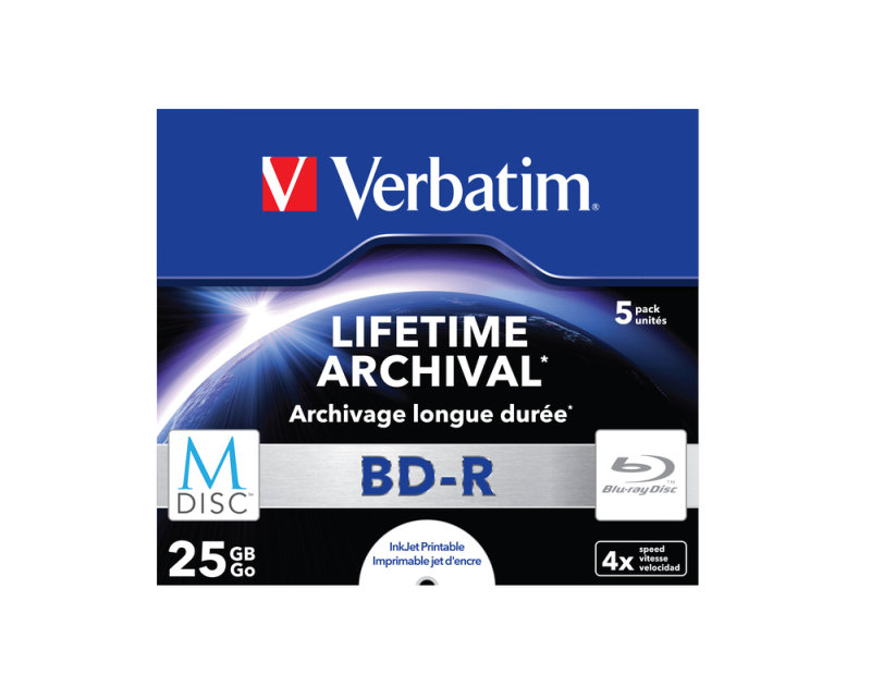 Verbatim 25GB 4x M-Disc BD-R 5 Pack Jewel Case