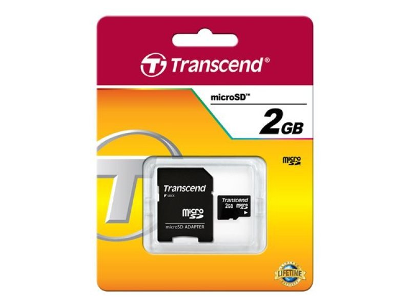 Transcend 2GB microSD Card - with Adapter