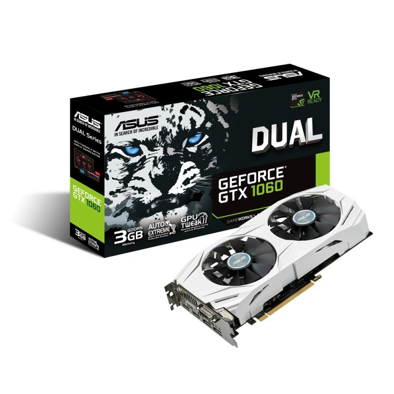 Asus GeForce GTX 1060 Dual 3G 3GB GDDR5 Dual-link DVI-D HDMI 2x DisplayPort PCI-E Graphics Card