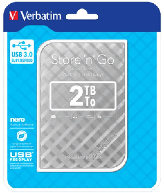 Verbatim 53198 Portable Hard Drive 2TB Silver