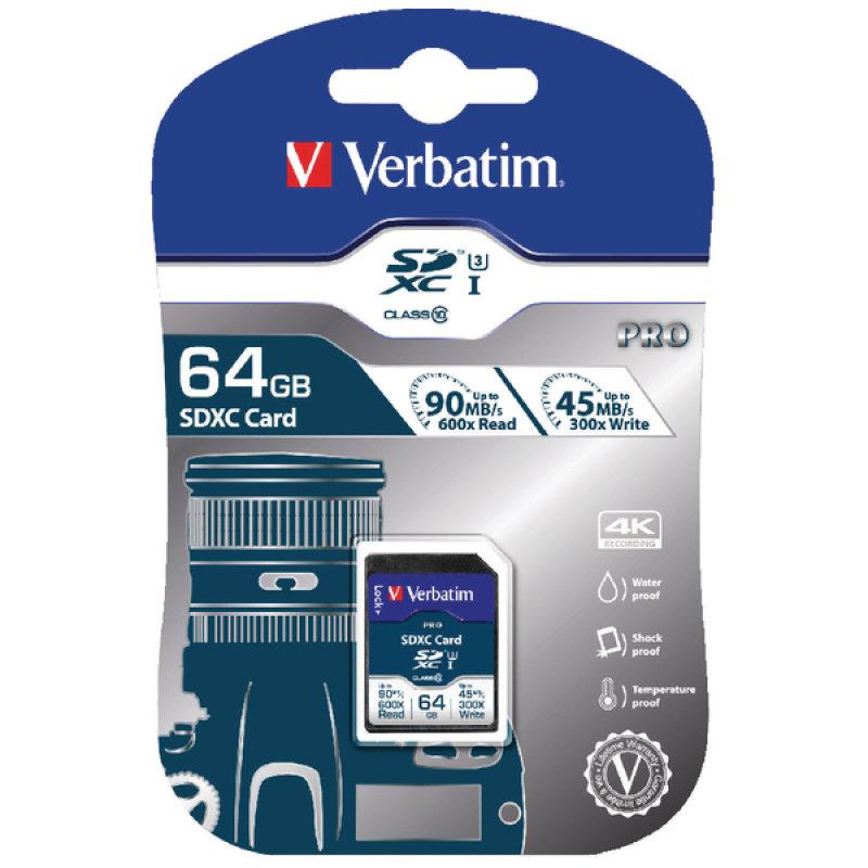 Verbatim Pro SDXC Class 10 UHS-I U3 64GB Memory Card