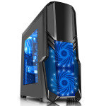 CIT G Force 1 x USB3 2 x 12cm Blue 15 LED Front Fans Black Midi Tower Case