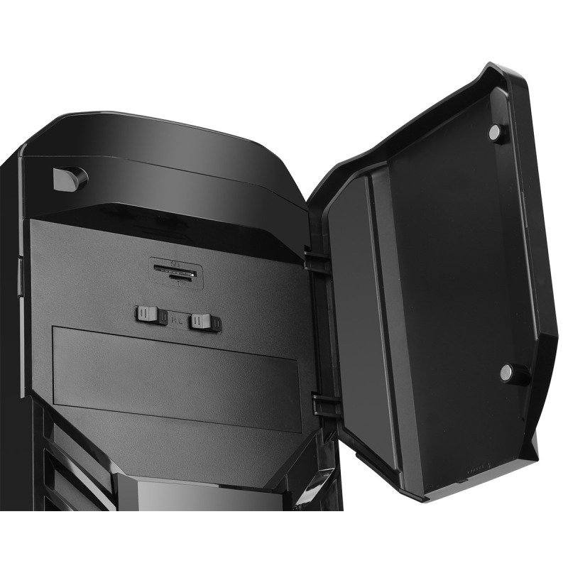CIT G Force Black Midi Tower Case with 2x 12cm Green 15 LED Front Fans