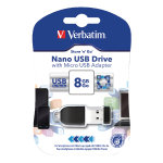 Verbatim Black Store n Go Nano 8GB USB Drive with Micro USB OTG Adapter
