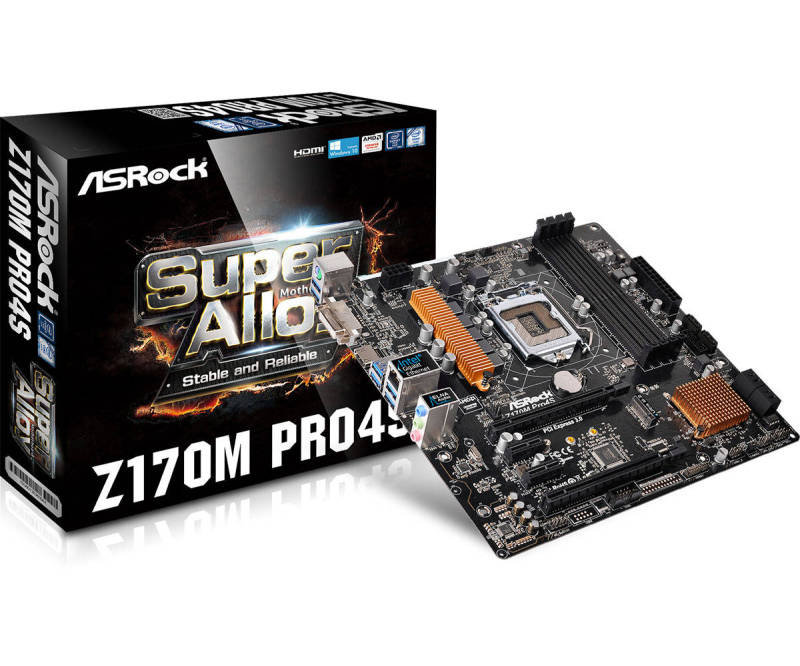 ASRock Z170M Pro4S Socket 1151 DVI-D HDMI 7.1 Channel HD Audio Micro ATX Motherboard