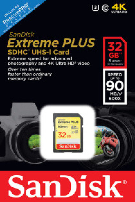 SanDisk 32GB Extreme Plus SDHC UHS-I Memory Card