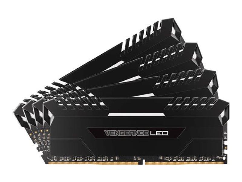Corsair Vengeance LED 32GB (4x8GB) DDR4 DRAM 2666MHz C16 Memory Kit - White LED