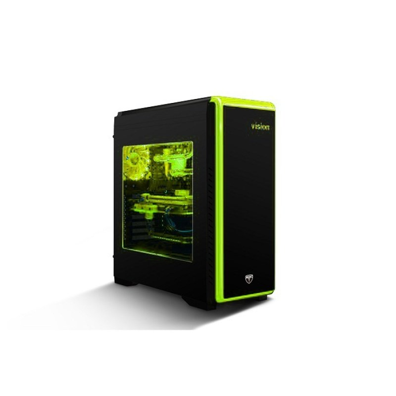 Tower Case Seven Avp Mid Coloured Black Vision With Lighting OiXPkZu