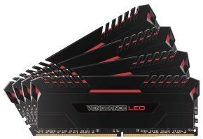 Corsair Vengeance LED 32GB (4 x 8GB) DDR4 DRAM 2666MHz C16 Memory Kit - Red LED