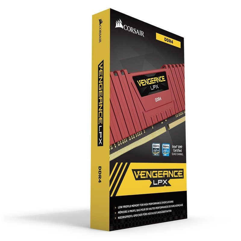 Corsair Vengeance LPX 16GB (4x4GB) DDR4 DRAM 3200MHz C16 Memory Kit - Red