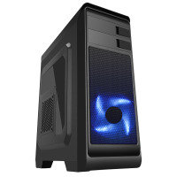 CIT Hero Mid Tower MATX Case with 1 x 12cm Front Blue LED Fan & 1 x USB3 with Side Window