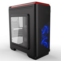 CIT Lightspeed Micro ATX Black Tower Case With Inbuilt LED Light System 2x LED Blue Fans
