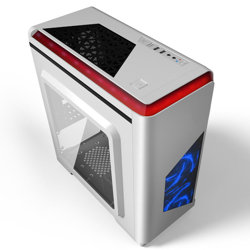 CIT Lightspeed Micro ATX White Tower Case With Inbuilt LED Light System 2x LED Blue Fans